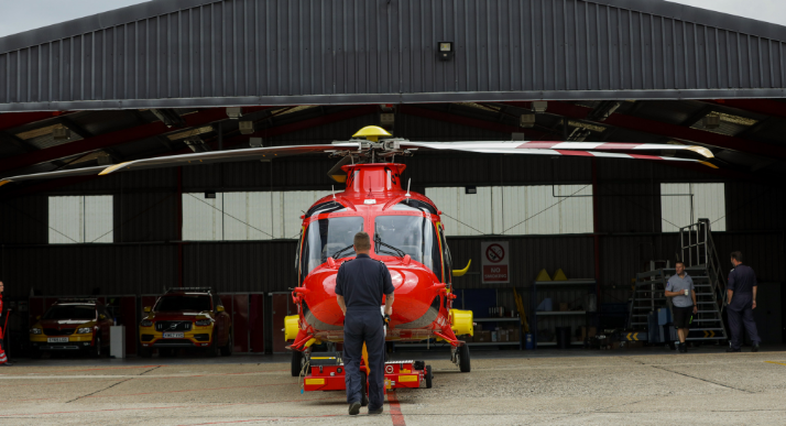 Pulling AW169 out of hangar